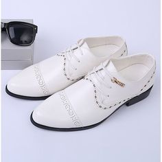 Men White Leather Lace Up Fashion Wedding Prom Dress Oxford Shoes SKU-1100284