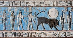 [EGYPT 'Birth of the sun in Hathor Temple at Dendera.' The rising sun is born from the lap of sky goddess Nut on the astronomical ceiling in the outer hypostyle hall of the Hathor Temple at Dendera. The ceiling consists of seven separate strips but Ancient Egypt Art, Ancient History, Art History, Ancient Artifacts, Fresco, Kemet Egypt, Zodiac Signs Taurus, Libra, Art Ancien