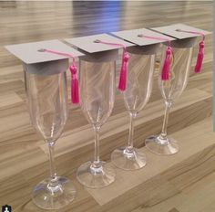 graduation caps for champagne flutes College Graduation Parties, Graduation 2016, Graduation Celebration, Graduation Cards, Grad Parties, Graduation Quotes, Graduation Announcements, Graduation Invitations, Graduation Decorations