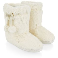 Accessorize Supersoft Boot Slippers ($26) ❤ liked on Polyvore featuring shoes, slippers, boots and white