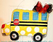 Teacher Appreciation Pencil Burlap Door Hanger Decoration HUGE - Polka Dots Back to School. $35.00, via Etsy.
