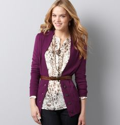 I wore a gray print with my gray pencil skirt and purple cardigan. MK calls this a burgundy cardi. I have to say, I have never looked for a floral print like this one. I think H&M is a store I should visit. Purple Cardigan Outfits, How To Wear Cardigan, Burgundy Cardigan, Belted Cardigan, Long Cardigan, Fall Fashion Trends, Autumn Fashion, Grey Pencil Skirt, Black Dress Pants