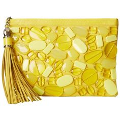 Rafe New York Large Celia Clutch ($298) ❤ liked on Polyvore featuring bags, handbags, clutches, lemon drops, zip purse, rhinestone studded handbags, yellow hand bags, studded purse and rhinestone purses