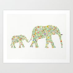 Mamma and Baby Elephant Art Print by Be Wild and Free