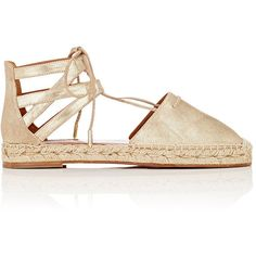 Aquazzura Women's Belgravia Lace-Up Espadrilles ($495) ❤ liked on Polyvore featuring shoes, sandals, flats, gold, round toe flats, metallic flats, low heel sandals, lace up flats and flat pumps