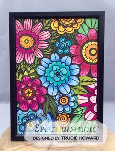 Colorista premium marker pad Floral Bouquet  Colorista markers used orchid, rose blush, hot pink, pear green, canary, nectarine, pearl blue, cerulean, denim, forest green, cyan, leaf green and rose red TV sample By Trudie Howard #spectrumnoir #coloring #crafterscompanion