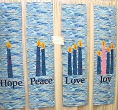 hope peace love and joy candle perfect for mom who always forgets the advent candles Holiday Quilt Patterns, Advent Candles Meaning, Christmas Banners, Christmas 2019, Love Decorations, Christmas Quotes, Christmas Crafts, Church Banners, Christian Christmas