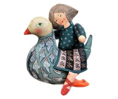 girl riding a bird - painted folk art doll - soft sculpture by lolka (etsy..$300.00)