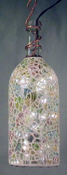 Mosaic Garden bottle light- This is sooo Kelly- We need to make this for your patio light