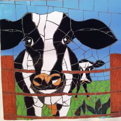 My first cow mosaic by Geraldine Donovan