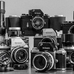 A beautiful image of Nikon F series SLRs and classic Nikkor H glass from An absolutely superb collection. A beautiful image of Nikon F series SLRs and classic Nikkor H glass from Yury Kirillov An absolutely superb collection. Photography Lessons, Photography Camera, Digital Photography, Aerial Photography, Photography Business, Nikon Digital Camera, Nikon Cameras, Nikon F2, Camera Gear