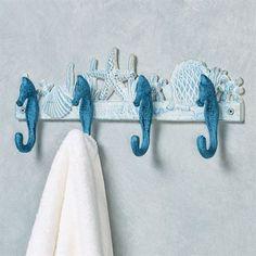 Seahorse and Seashells Wall Hook Rack