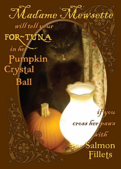 """""""Madame Mewsette Will Tell Your For-tuna!"""" Halloween Card"""