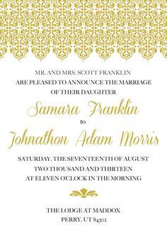 Golden Damask Wedding Invitation via Etsy