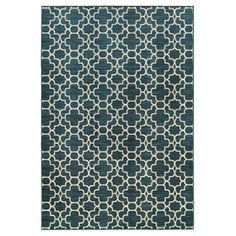 Picture of Double Geo-Pattern Rug- Turquoise 7x10-ft
