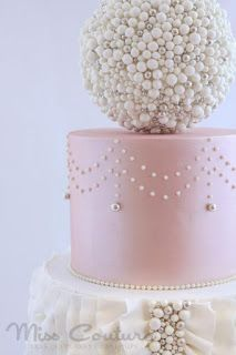Fondant- The Wedding Cake Blog: Pretty Ruffles and Pearls Engagement Cake