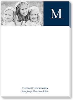 Custom Notepad with Image: Classic Color Block 5x7, Square, Blue