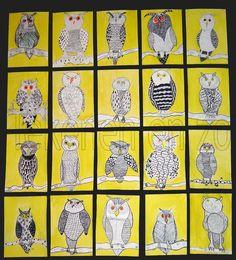 (texture/ pen and ink technique) i like the yellow background – Kunstunterricht Animal Art Projects, Fall Art Projects, School Art Projects, Autumn Art, Winter Art, Owl Art, Bird Art, Arte Elemental, 5th Grade Art