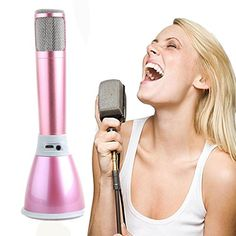 Wireless Microphone Hmlai Mini Handheld Bluetooth USB Cable Karaoke Player Microphone Speaker KTV Mic Pink ** Want additional info? Click on the image.
