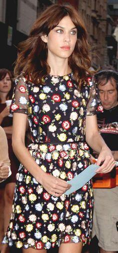 Alexa Chung in a Kenzo floral dress.