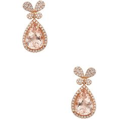 Rina Limor Women's 18K Rose Gold, Morganite & 0.75 Total Ct. Diamond... ($2,500) ❤ liked on Polyvore featuring jewelry, earrings, pink, long drop earrings, long earrings, 18k earrings, diamond butterfly earrings and 18k rose gold earrings