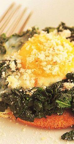 Huevos al horno con espinaca!