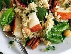 Peer, spinazie, guinoa, walnoten, kikkererwten