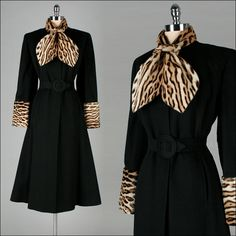 Vintage 1940s Coat . Black Wool . Leopard Print . Pony Fur . Pockets .