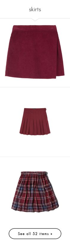"""skirts"" by fairly-local-on-the-radio ❤ liked on Polyvore featuring skirts, mini skirts, bottoms, clothes - skirts, elastic waist mini skirt, purple skirt, corduroy mini skirt, short skirt, wrap skirt and red"