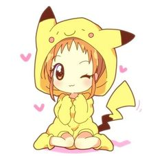 S3RL Pika Girl ❤ liked on Polyvore featuring fillers, anime, pokemon, characters, chibis, doodles and scribble
