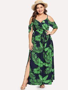 Shop Plus Cold Shoulder Slit Hem Floral Dress online. SheIn offers Plus Cold Shoulder Slit Hem Floral Dress & more to fit your fashionable needs.