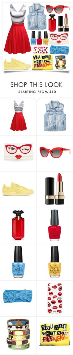 """""""Lets playdate! @polyvore #polyvoreeditorial #ootd #fashion #stylish #dress #red #yellow #blue #girly"""" by yohanaisabella ❤ liked on Polyvore featuring Gap, Kate Spade, adidas Originals, Dolce&Gabbana, Victoria's Secret, OPI, Lord & Taylor, Sonix, Bijoux de Famille and Jimmy Choo"""