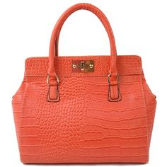 Made from high quality faux leather with meticulous finishing, the crocodile pattern exterior gives a touch of classy and trendy, and the polished metal hardware adds a shine. http://www.slotanna.com/slotanna-pu-leather-designer-handbag-with-twist-lock---orange-p-1069.html