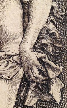 Albrecht Dürer ~ The Temptation of the Idler (The Dream of the Doctor) (detail), I like the crosshatching and the details of how he drew. Jan Van Eyck, Gravure Illustration, Illustration Art, Illustrations Poster, Engraving Art, Scratchboard, Albrecht Durer, Figure Drawing, Line Art
