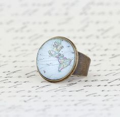 Statement Ring Cocktail Ring Map Ring Gift For by JacarandaDesigns, $15.00