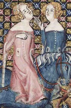 *Possible source for pocket embroidery or fur showing from lined surcoat* 1338-44, French. From the Romance of Alexander; fol 98r These two ladies ride astride. Both have short-sleeved cotehardies over long-sleeved ones. The undergowns are the same color as the overgowns. Both have wide fichets revealing belts underneath. Both are buttoned up the front as well as the sleeves