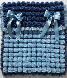 Pom Pom Baby Blanket,Blue,Handmade Baby Blanket,Photography Prop, New Baby,Baby…