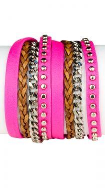 Studded Double Wrap Bracelet - Neon Pink