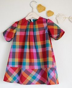 hart + sew | Vintage Baby Clothing: little miss plaid - make this from a simple dress pattern and red checked men's shirt