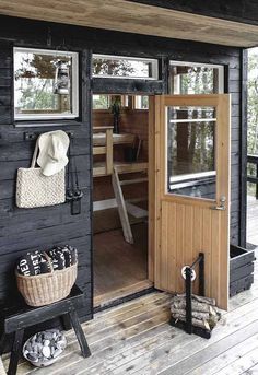 Sauna at Johanna Lehtinen's idyllic Finnish summer cabin in the archipelagos. sauna cabin A tour of an idyllic Finnish summer cabin Diy Sauna, Saunas, Sauna House, Scandinavian Cottage, Summer Cabins, Summer Houses, Sauna Design, Outdoor Sauna, Finnish Sauna