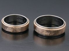 #Rings by #Bielak  #titanium and #pink #gold  #pattern: polished / frozen  rings with #fingerprint  #unique #wedding rings from #Poland