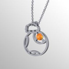 BB Flat Pend, BB8 inspired pendant Sterling silver and Citrine by PaulMichaelDesign on Etsy