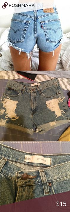 Distressed Vintage Shorts Amazing Vintage find. Tagged as LF for visibility but the brand is Lee. Fit a size 27-29 best. LF Shorts Jean Shorts