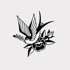 Swallow and Rose - Old School Tattoo inspired design. - Swallow and Rose – Old School Tattoo inspired design. Black Ink Tattoos, Small Tattoos, Mini Tattoos, Tattoo Stencils, Tattoo Fonts, Piercing Tattoo, Arm Tattoo, Tattoo Flash, Leg Tattoos