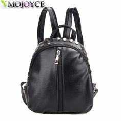 118f8f96d07  17.92 - Cool Small Women Backpacks Rivet Zipper Pu Leather Student Backpack  Preppy Fashion Bag Girls