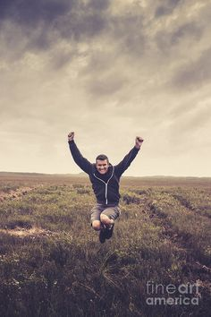 Rural Print featuring the photograph Holiday Man Jumping On Rural Australia Landscape by Ryan Jorgensen