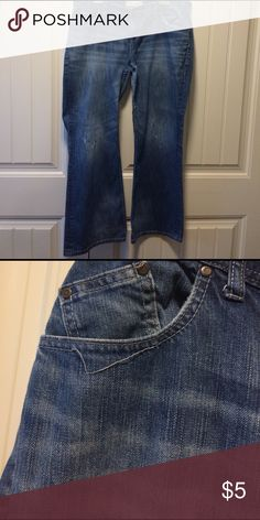Maurices 18 Regular Relaxed Flare Jeans Really great Jeans! A few areas with destroyed look. Only flaw is the unraveling of decorative stitching by right front pocket as pictured! Maurices Jeans Flare & Wide Leg