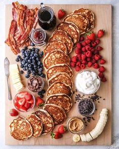 """Build Your Own Pancake Board - Completely Delicious - - This fun and creative """"build your own"""" pancake board with all the toppings is perfect for breakfast, brunch, and even brinner! Charcuterie Recipes, Charcuterie And Cheese Board, Cheese Boards, Bagel Bar, Pancake Bar, Pancake Breakfast, Breakfast Platter, Breakfast Sandwiches, Party Food Platters"""