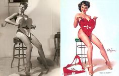 The original reference photos for the great American pin-up painter Gil Elvgren have emerged, with comparison of the original models and his pin-ups making great images. The inspiration for his work in producing the often suggestive, cheeky and flirty pin-ups is fascinating, with even these girls given a liberal photoshopping to push the message that little bit more.