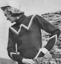 Pullover Sweater with Yoke Design & Turtleneck Vintage Knitting Pattern for download Bust 36-40